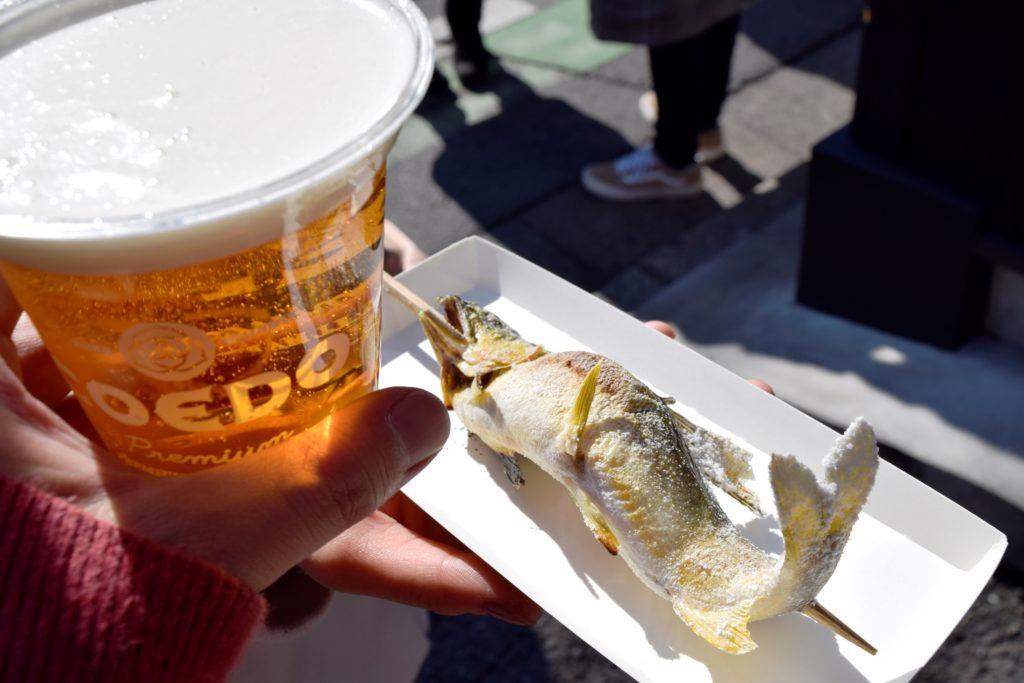 コエドビールと鮎の塩焼き